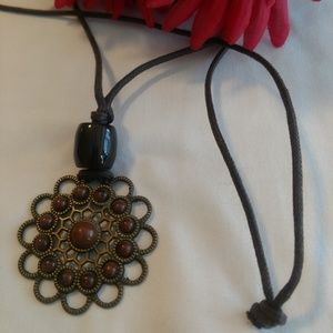 Boho Style Necklace with Flower Medallion